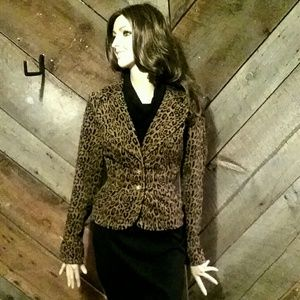 Corduroy Fitted Leopard Print Suit Jacket